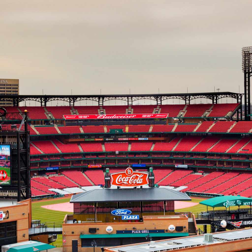 Busch Stadium, home of the St. Louis Cardinals.
