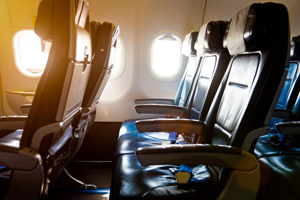 Business class seating on a standard flight.