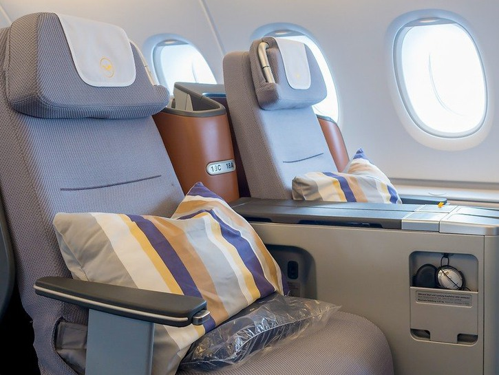 Business class seats on an airplane