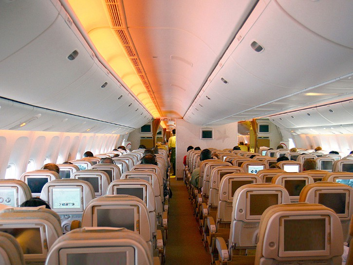 Cabin of an Etihad Airways flight