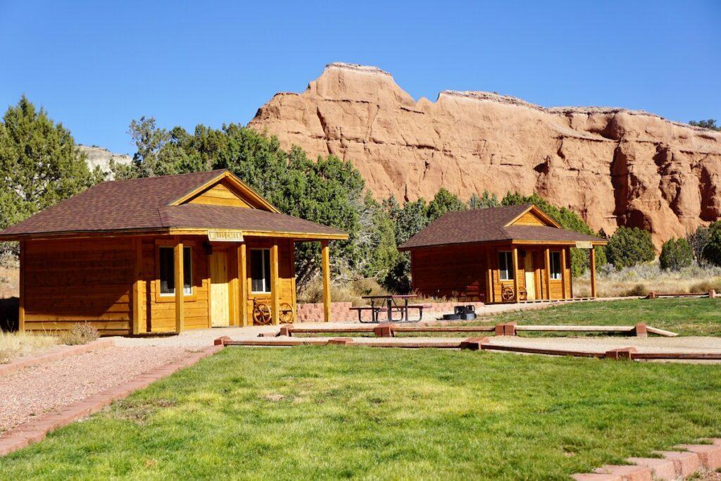 Cabins at Kodachrome Basin State Park in Utah.