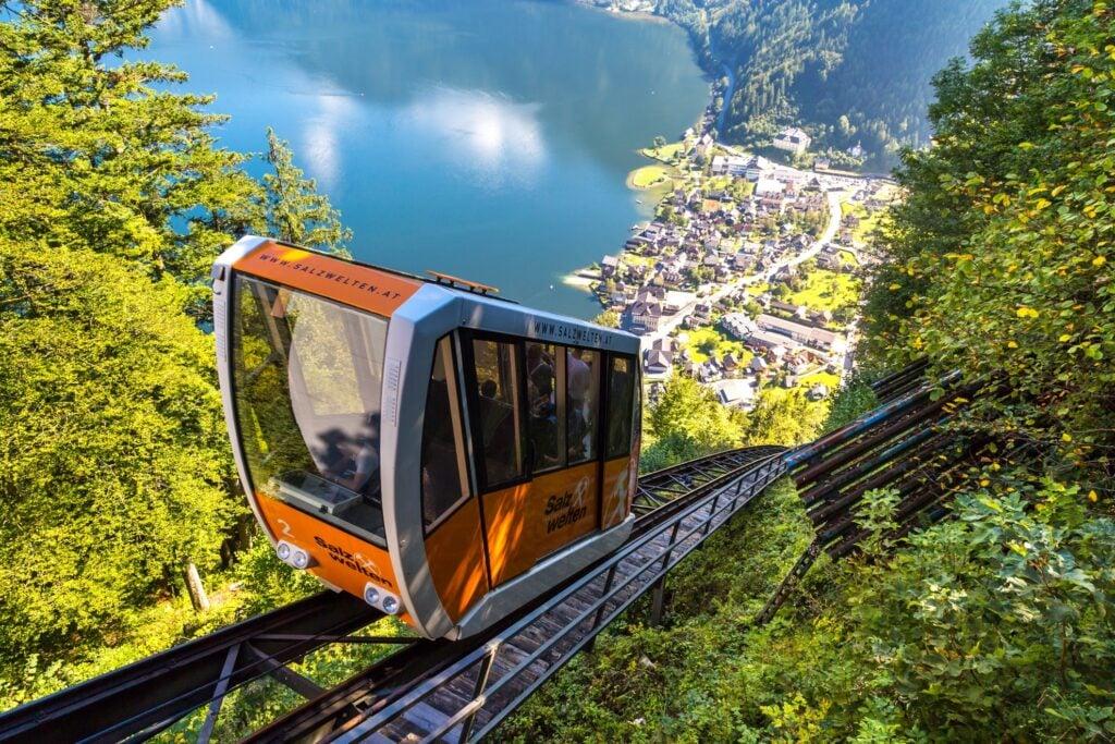 Cable railway between Hallstatt and Salzburg peak.