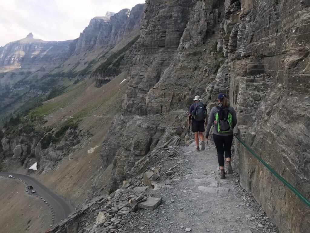 Cable section of Highline Trail in Glacier National Park.
