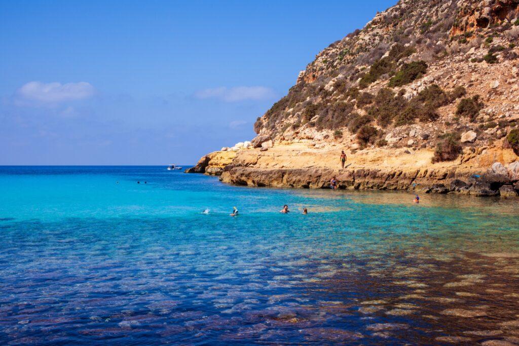 Cala Pulcino in Lampedusa, Sicily.