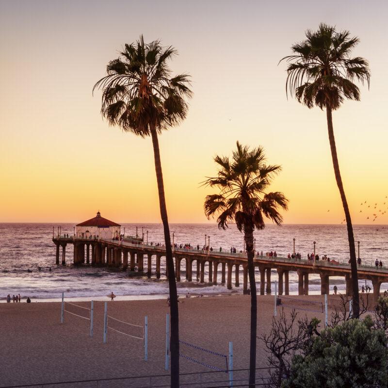 California's Manhattan Beach at sunset.