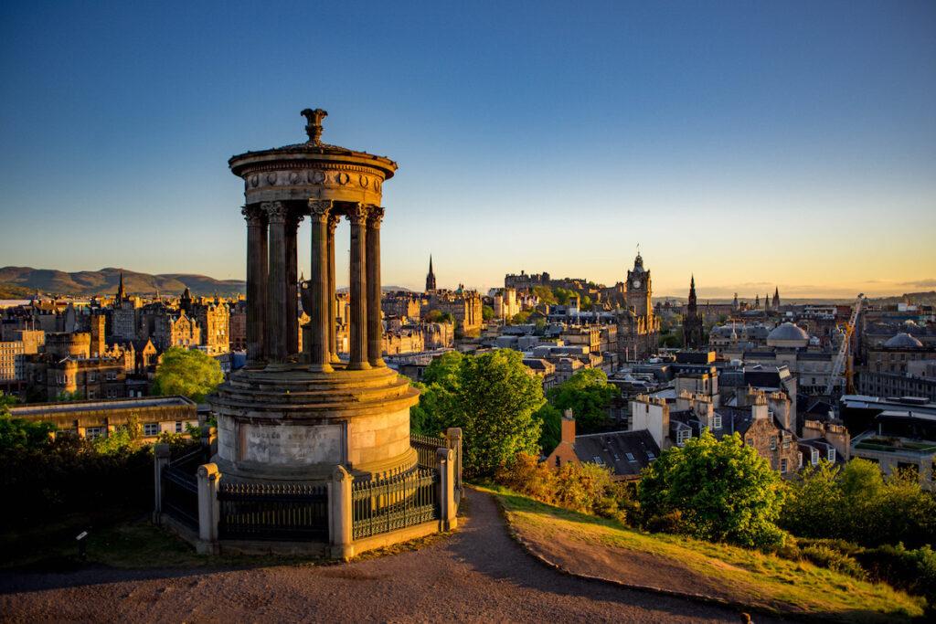 Calton Hill in Edinburgh, Scotland.
