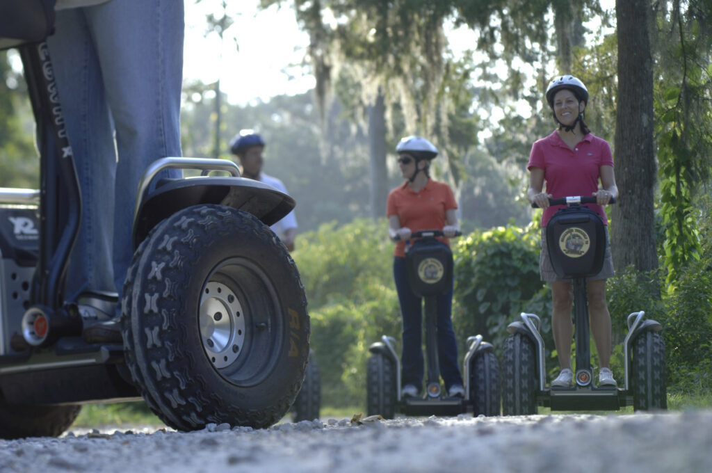 Campers taking a segway tour at Disney's Fort Wilderness.
