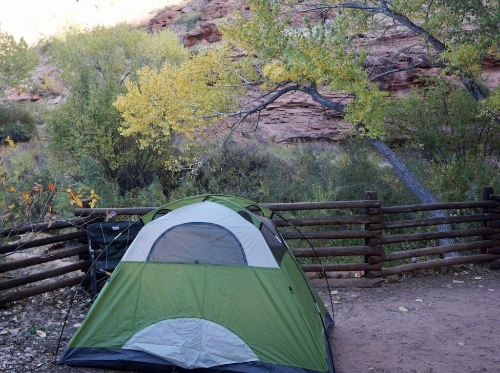 Camping at the Calf Creek Recreation Area in Utah.