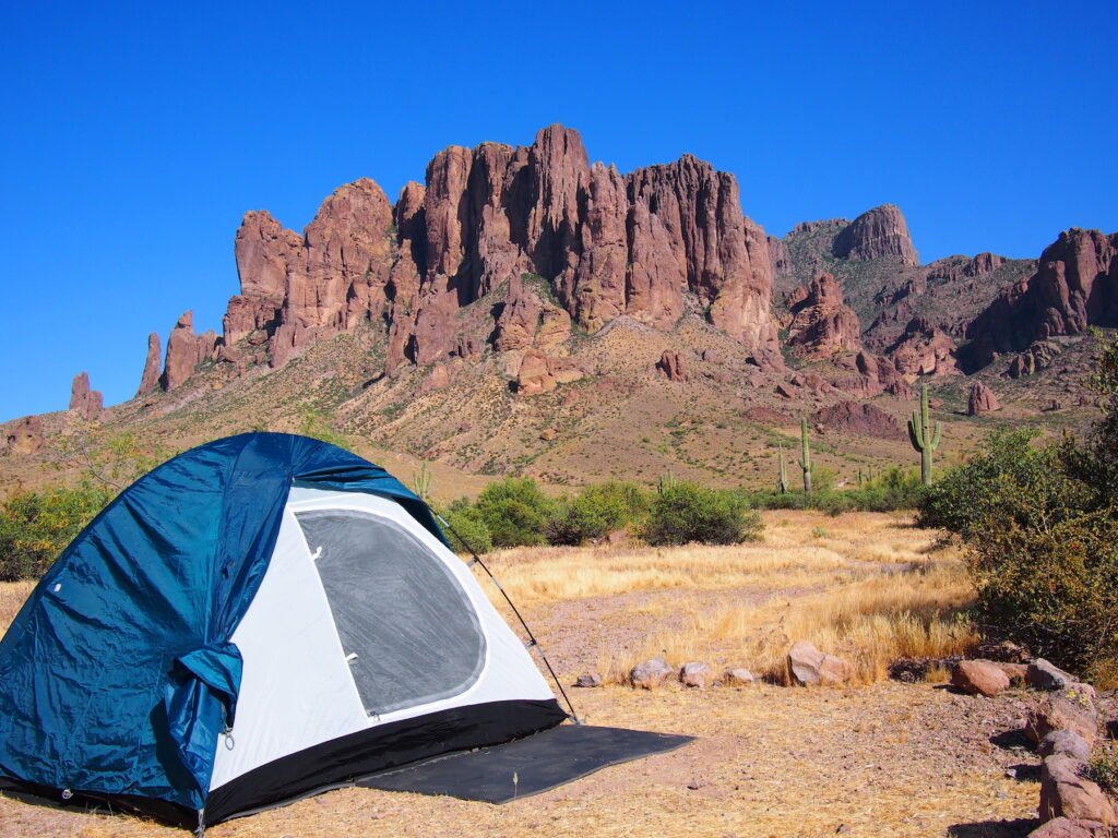 Camping at the foot of Superstition Mountain.