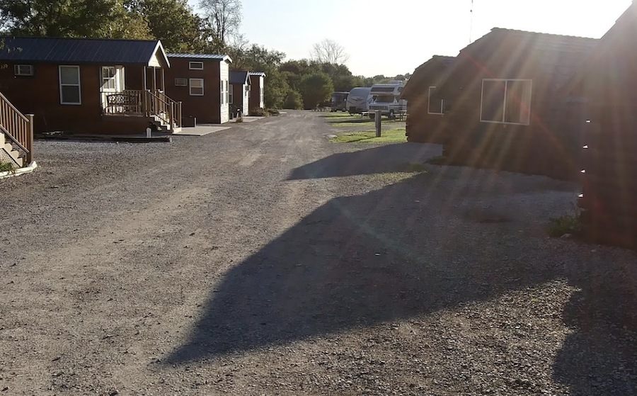 Camping cabins at Des Moines West KOA in Iowa.