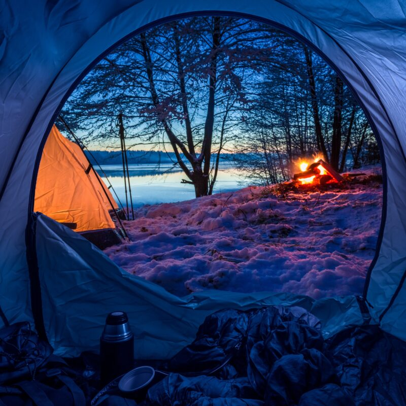 Camping during the winter time.