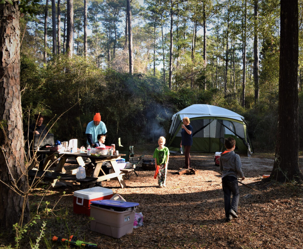 Camping in Historic Blakeley State Park, Alabama.