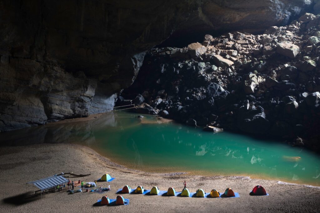 Camping inside Hang Son Doong Cave.