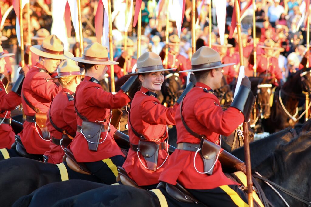 Canadian Mounties in a parade.