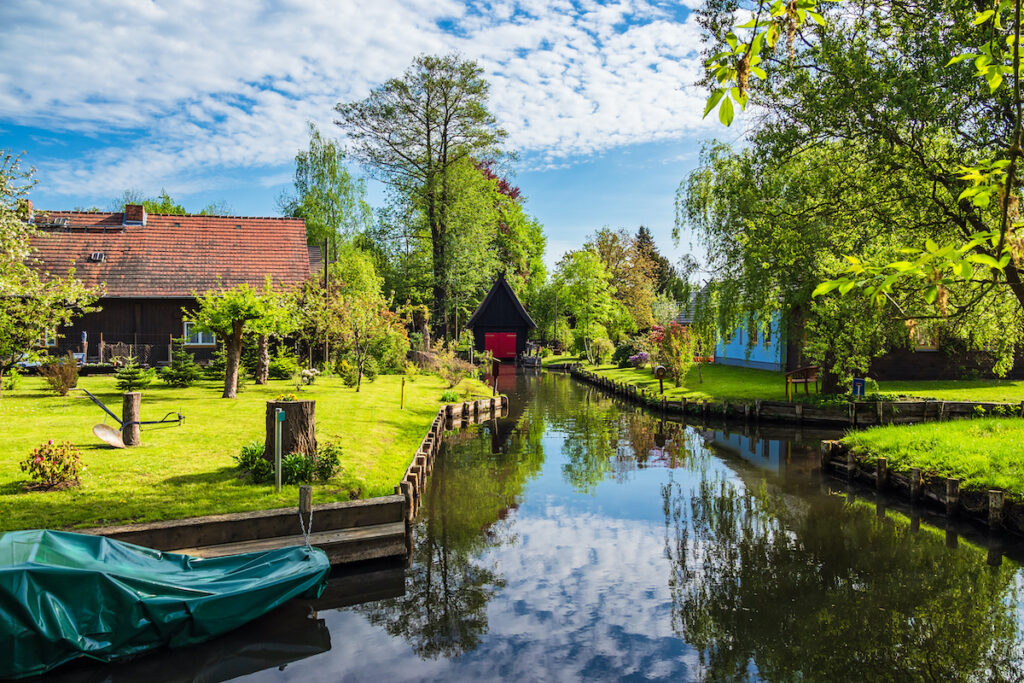 Canal through Germany's Spreewald area.