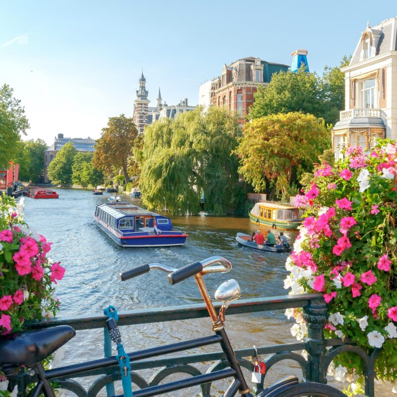 Canal views in Amsterdam, The Netherlands.