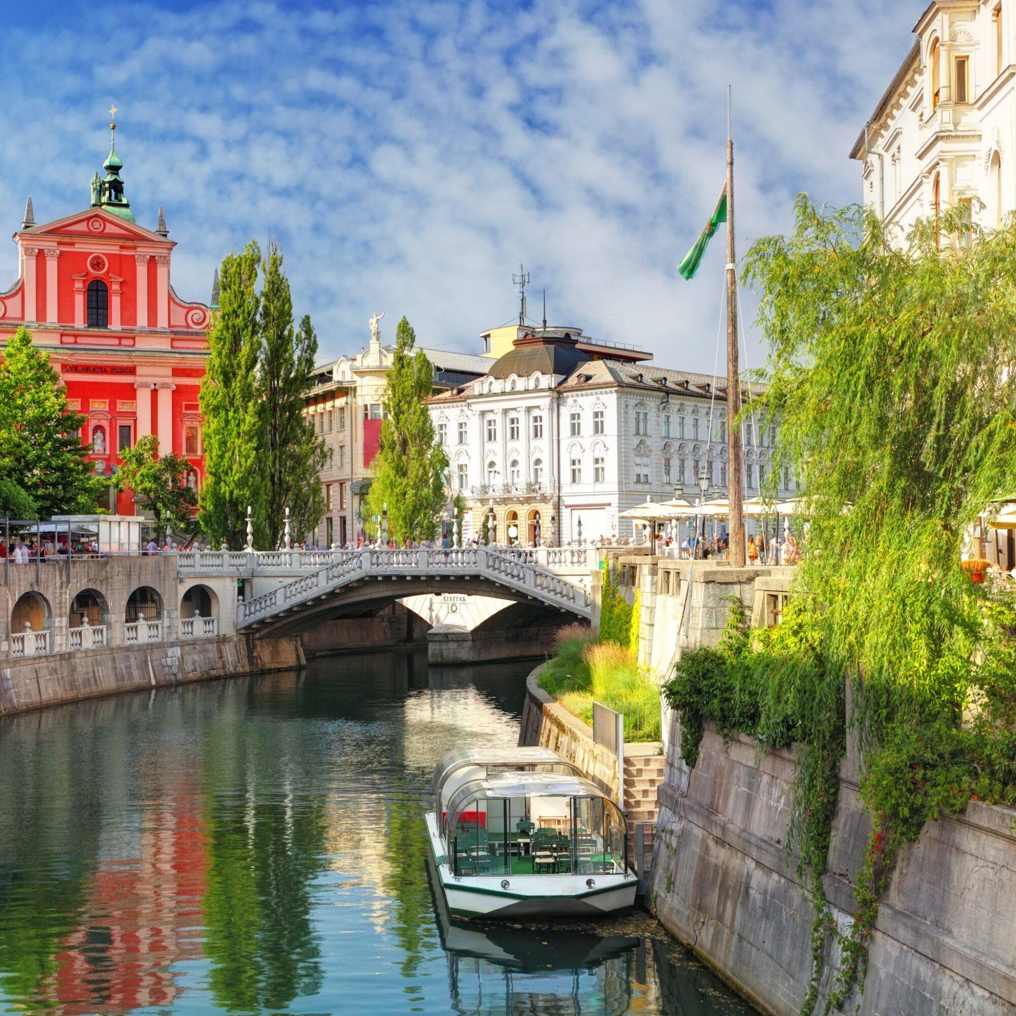 Canal views in Ljubljana, Slovenia.
