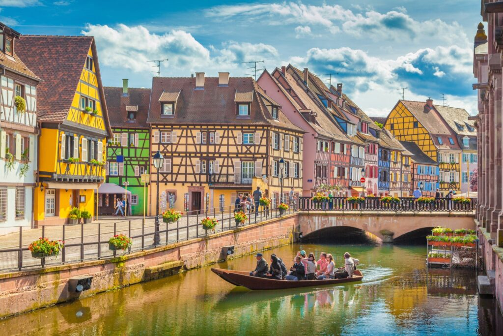 Canals in the village of Colmar, France.