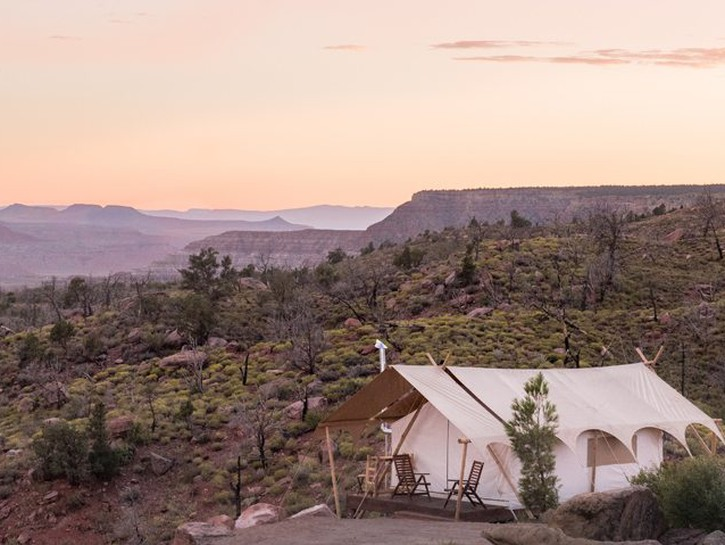 Canvas glamping tent near Yellowstone park