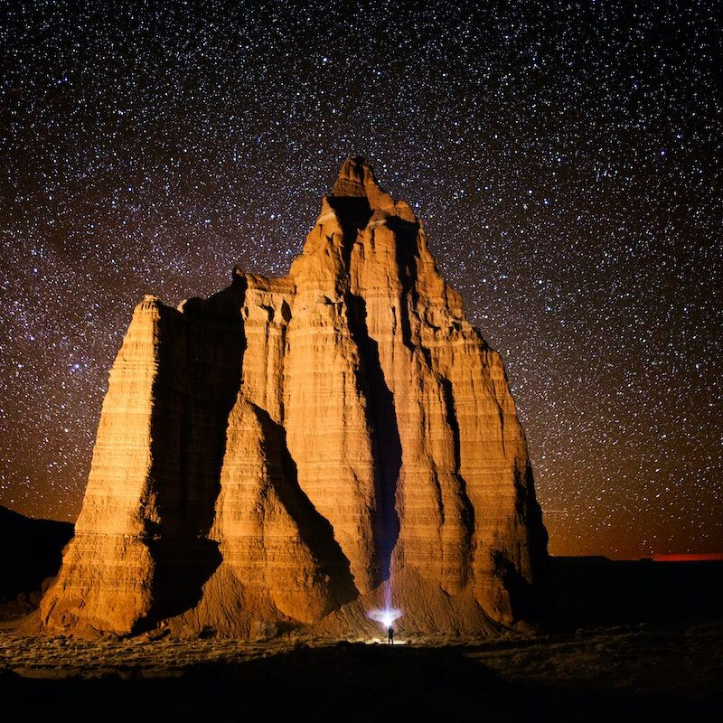 Capitol Reef National Park at night.
