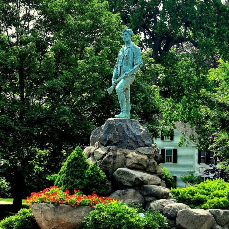 Captain John Parker statue, Lexington, Massachusetts.