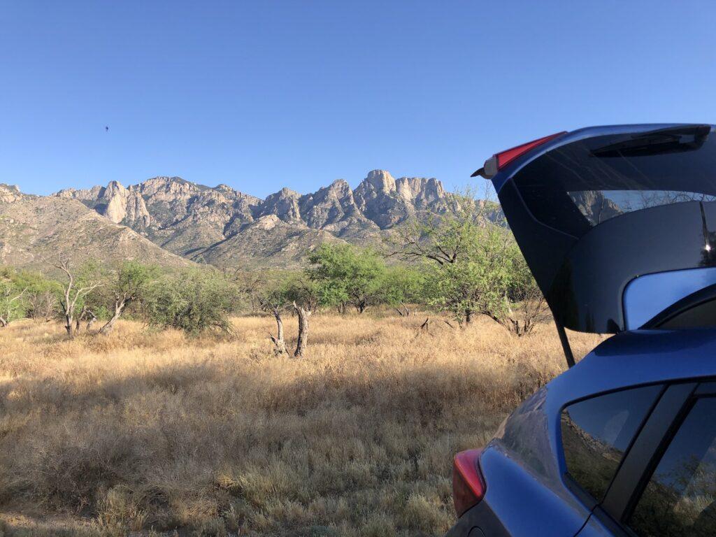 Car camping at Catalina State Park.