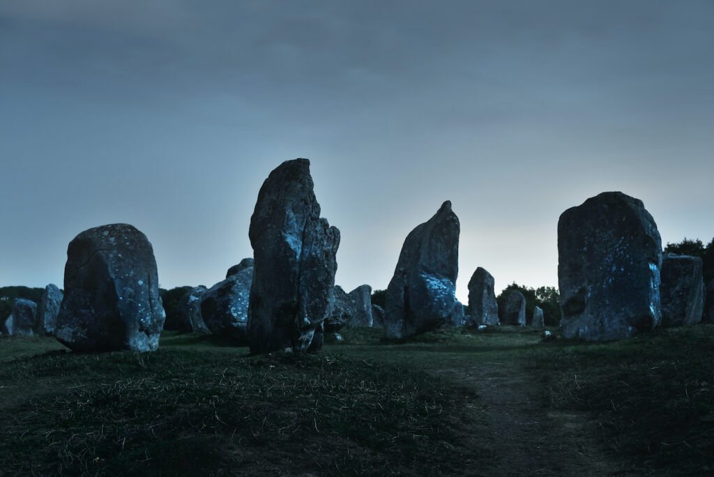 Carnac Alignments, megalithic site, at night.