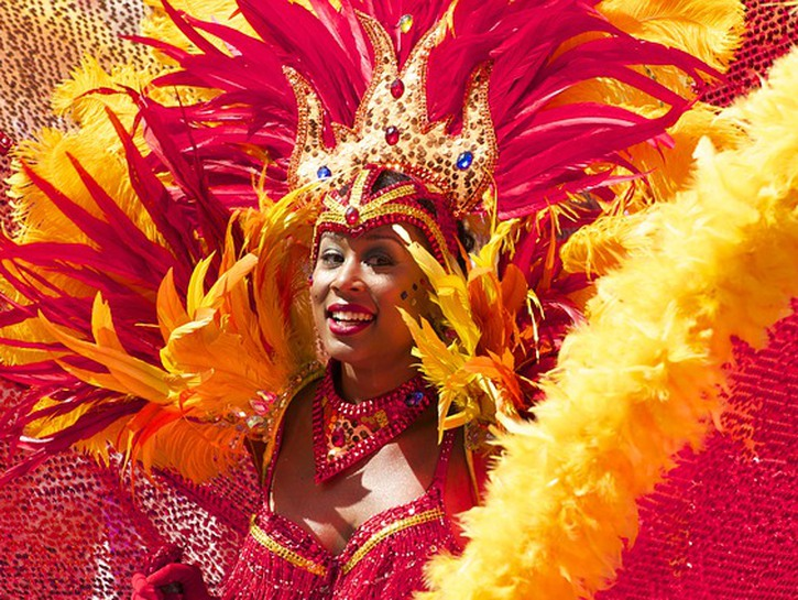 Carnaval Brazil woman red feather costume