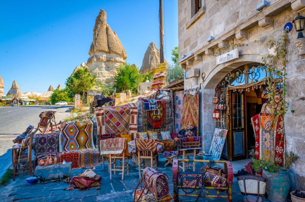 Carpets for sale at a bazaar in Cappadocia, Turkey.