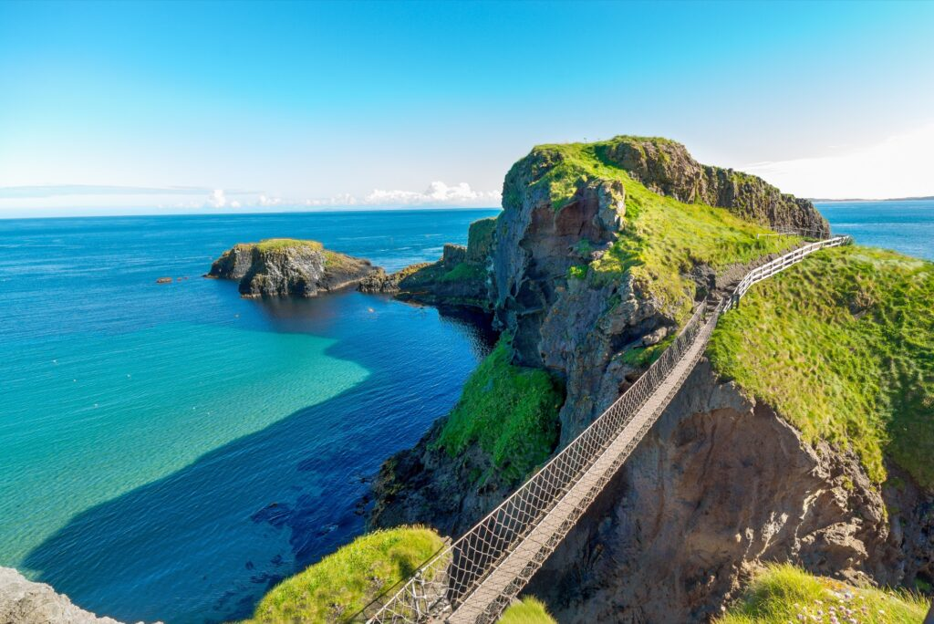 Carrick-A-Rede Rope Bridge in Ballintoy, Northern Ireland.
