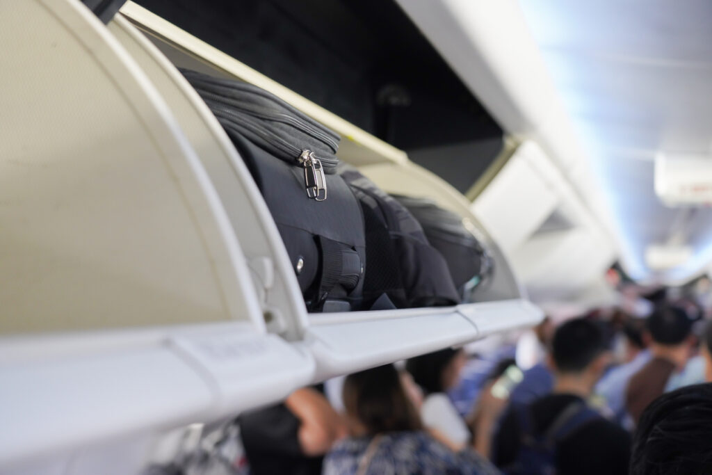 Carry on compartment on a plane.