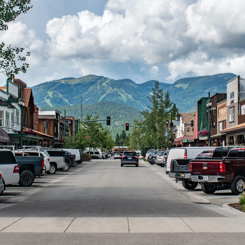 Cars in downtown Whitefish, Montana.