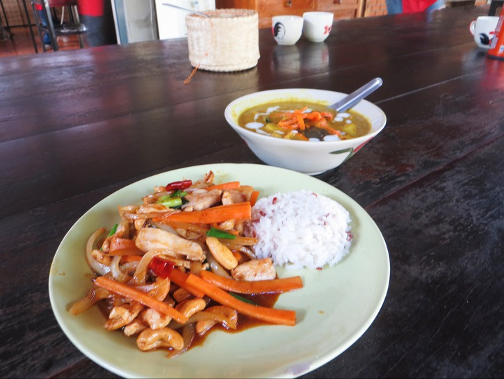 Cashew chicken stir fry, or gai pad med mamuang, paired with Thai yellow curry.