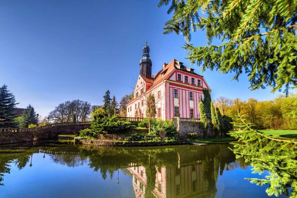 Castle Near Wroclaw in Warmatowice Sienkiewiczowskie, Poland.