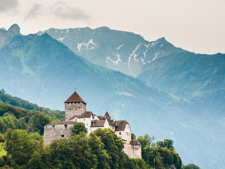 Castle of Liechtenstein on a forested hill, overlooking the alps in the distance