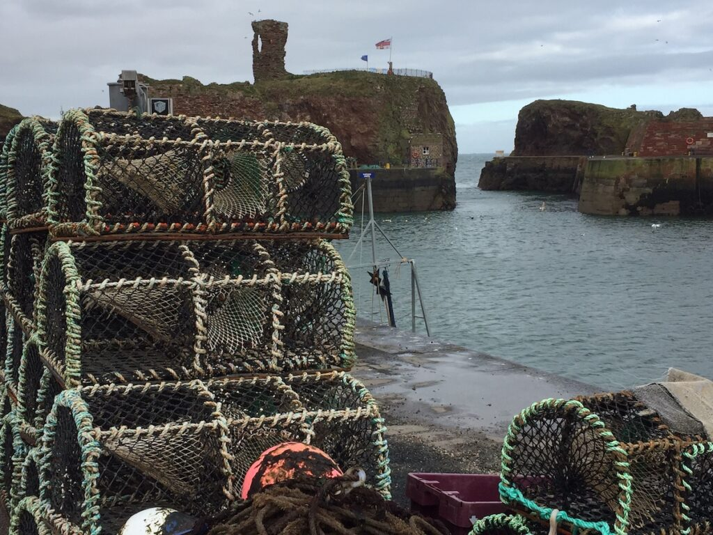 Castle ruins and lobster traps.