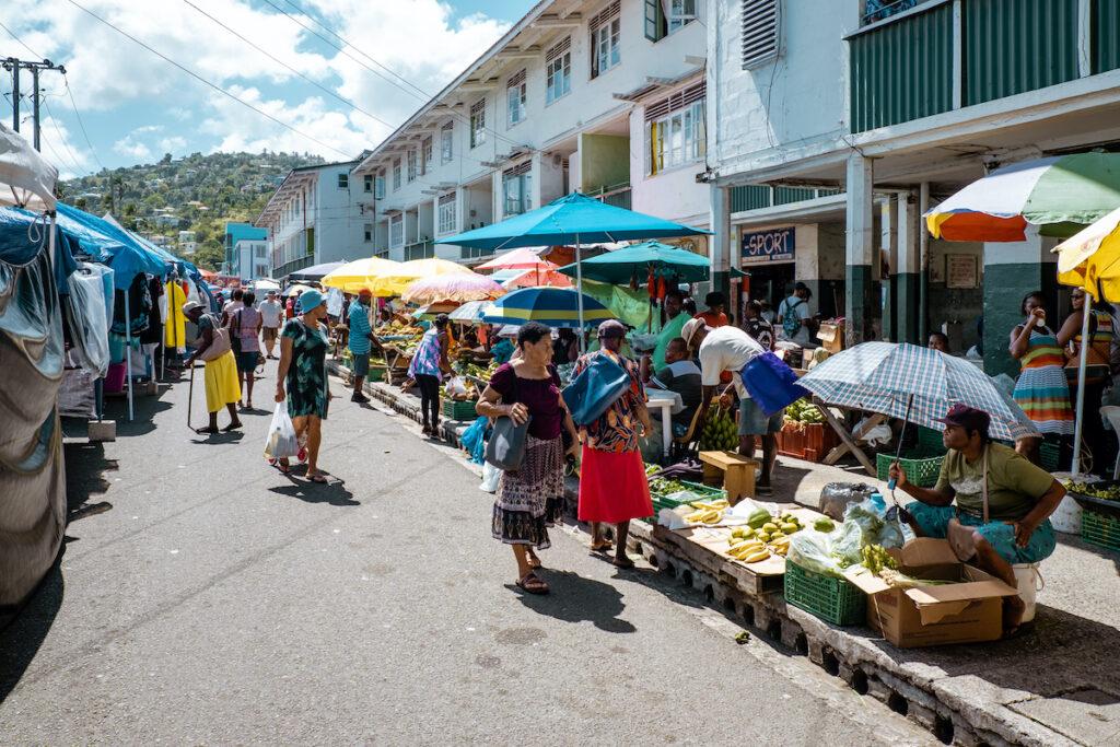 Castries Central Market in Saint Lucia.