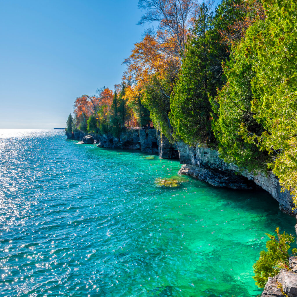 Cave Point Country Park at Door County in Wisconsin.