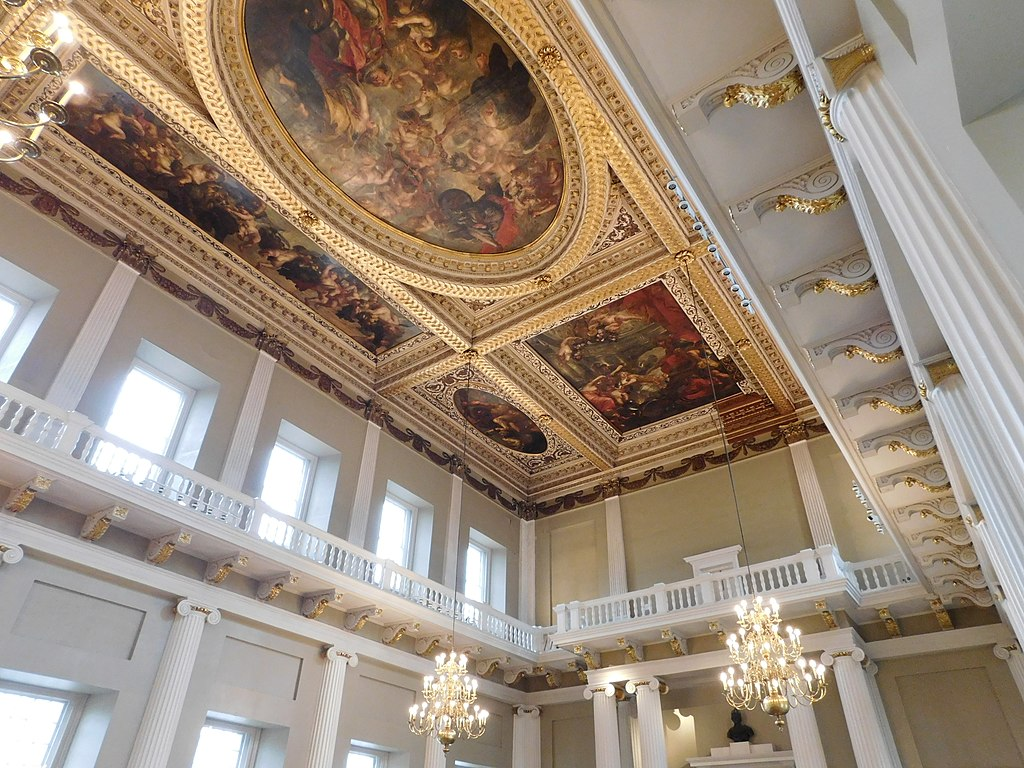 Ceiling paintings in the Banqueting House by Peter Paul Rubens.