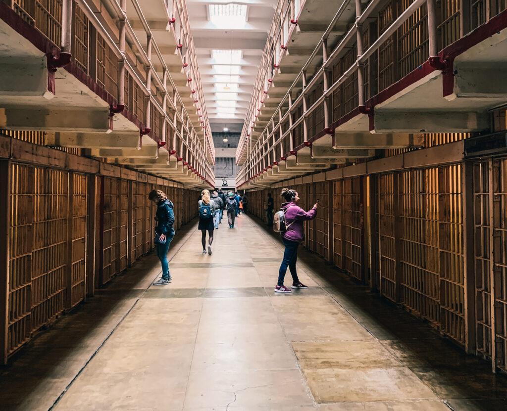 Cell blocks on Alcatraz Island.