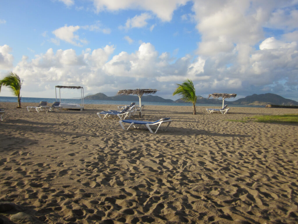 Chairs and palm trees on the beach, Nevis, St. Kitts and Nevis