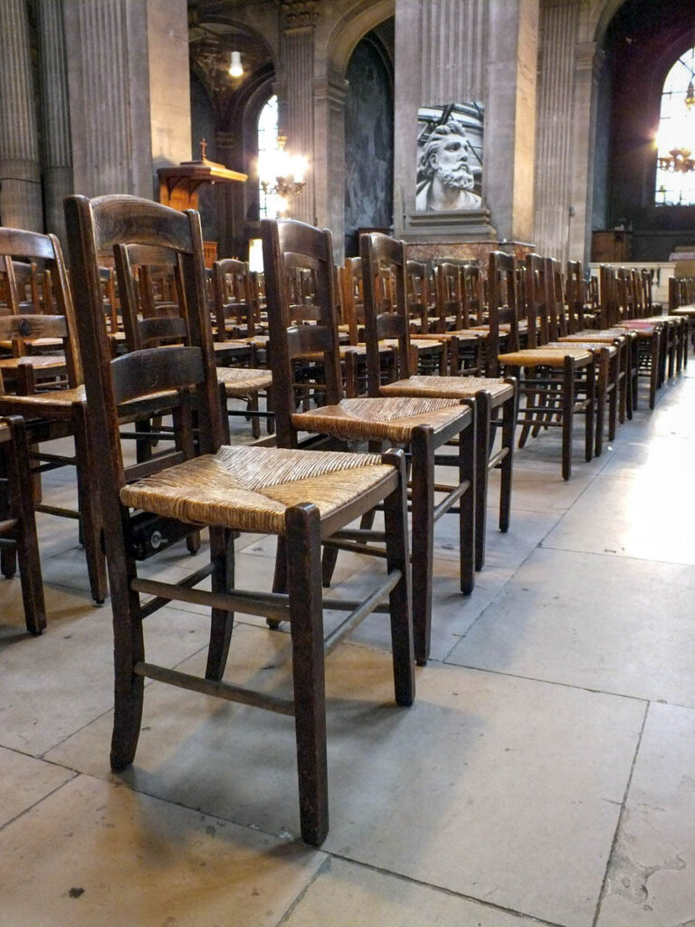 Chairs inside the Church of Saint Sulpice.