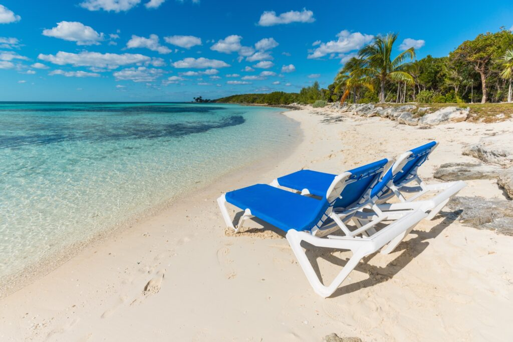 Chairs on the beach on CocoCay.