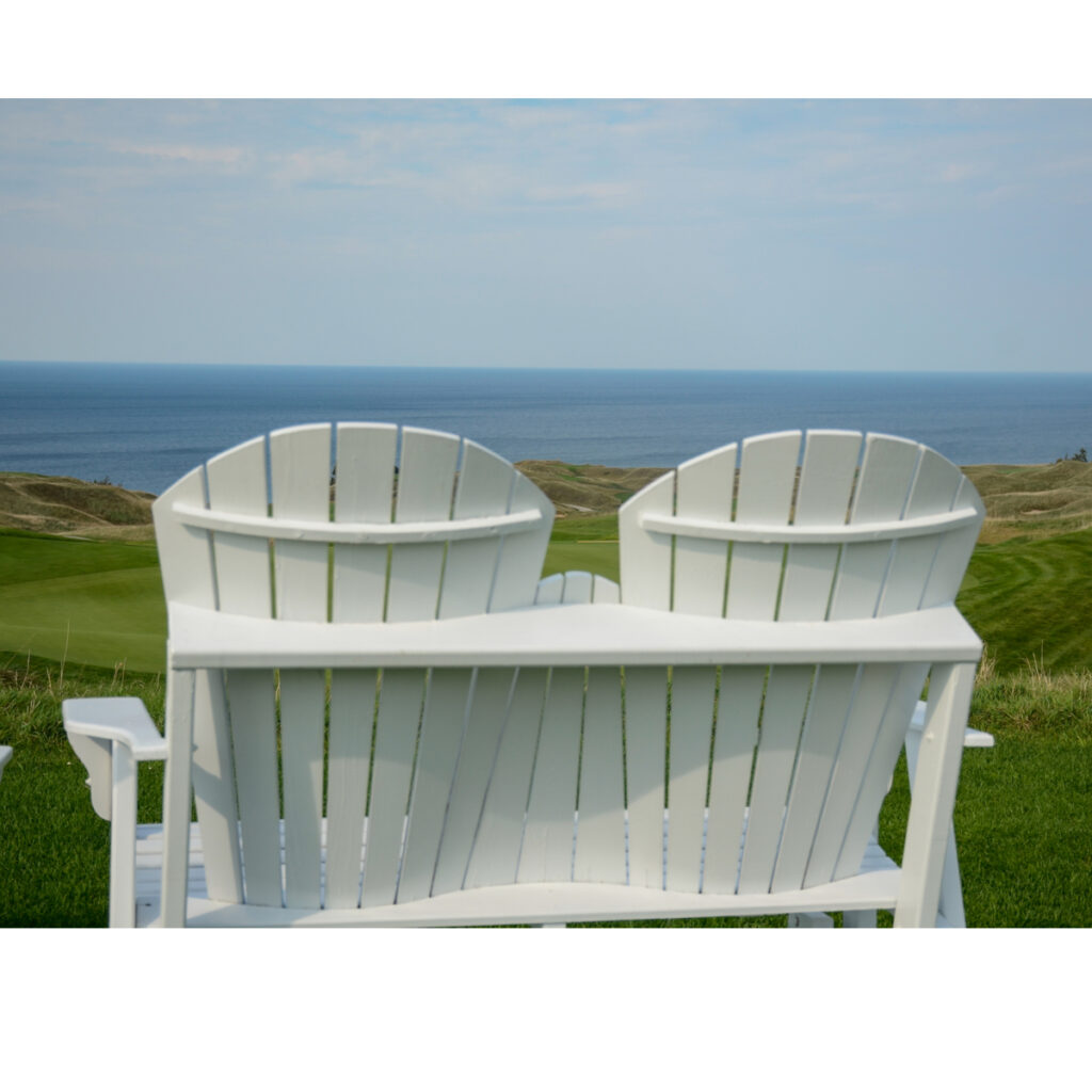 Chairs overlooking the Arcadia Bluffs.
