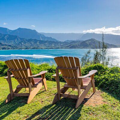 Chairs overlooking the Pacific, Kauai.