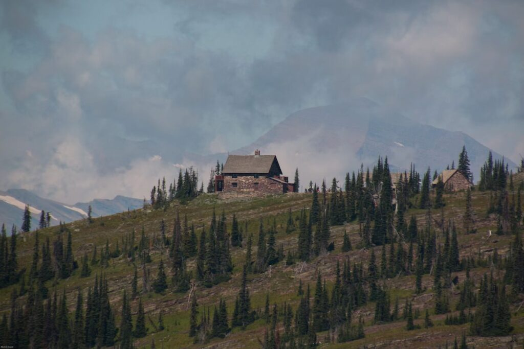 Chalet view, Highline Trail in Glacier National Park.