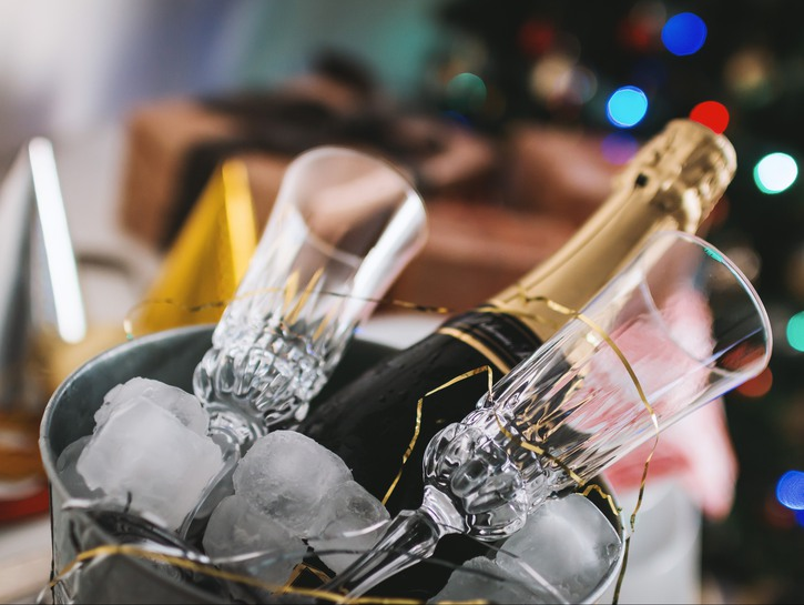 Champagne on ice with flutes