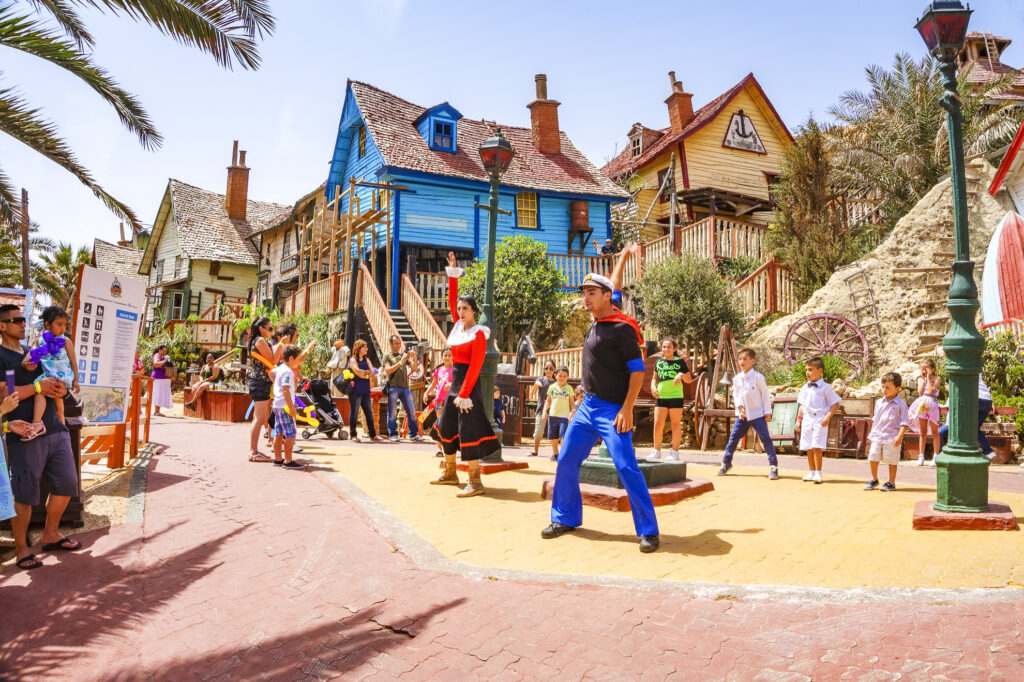 Characters in Popeye Village.