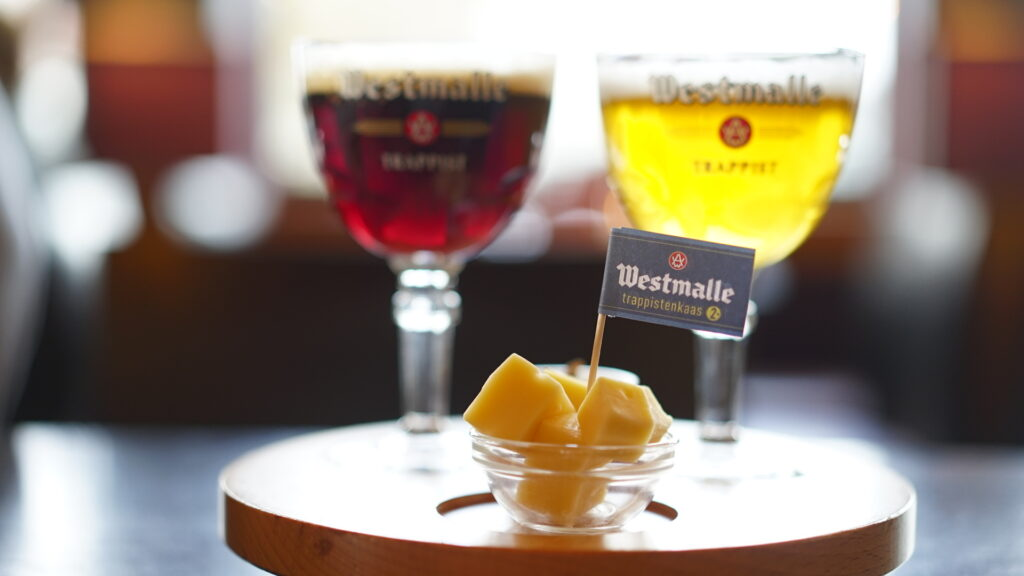 Cheese and beer at Westmalle Brewery.