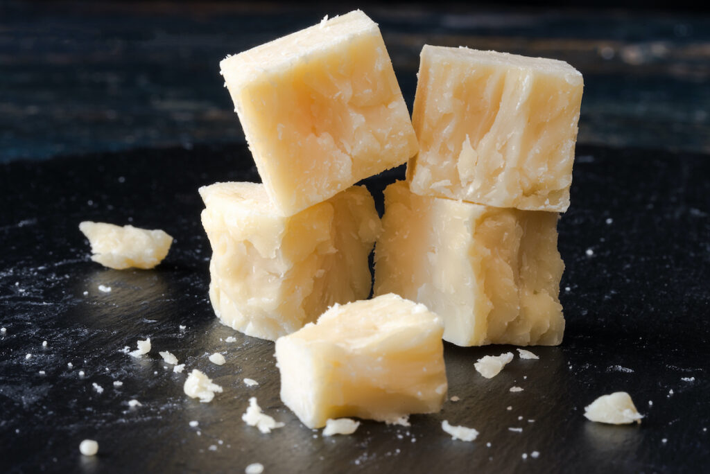 Cheese cubes from Wisconsin.